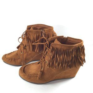 Cityclassified Fringe Brown Booties Size 7.5